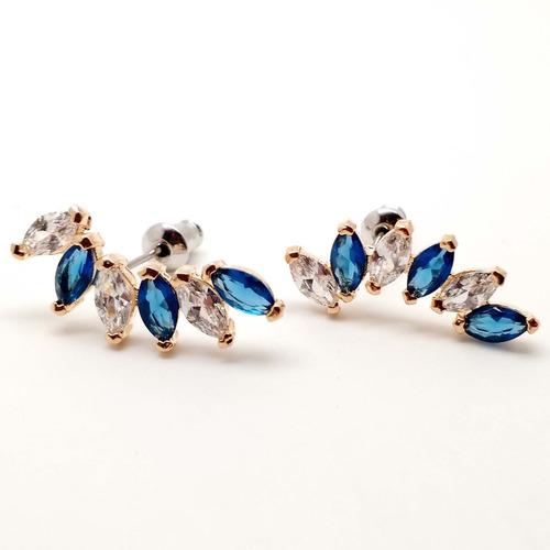 arete de oro laminado 14k con zirconias azules y blancas