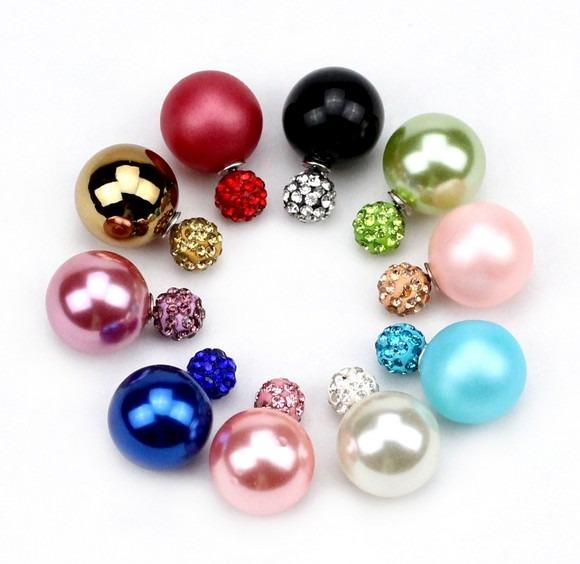 7e7d9cecae5f Arete Doble Perla Colores Moda Mujer Look Fashion Regalo -   7.990 en  Mercado Libre