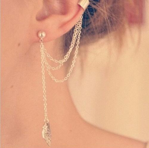 arete fashion mujer ear hook plated crystal rhinestone stud