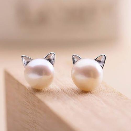 arete gato perla pendiente gatito moda vintage kawaii