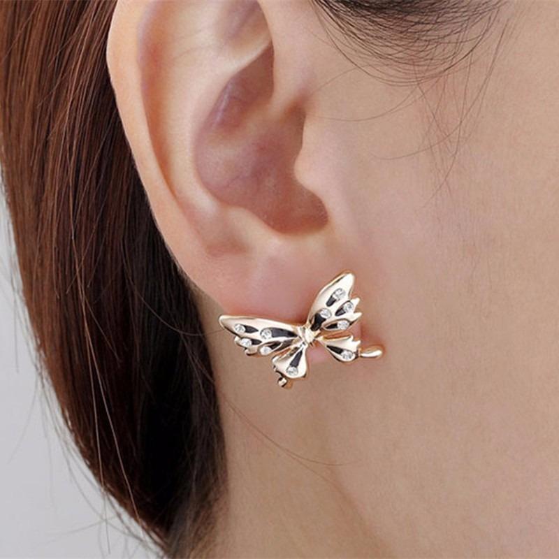 25a6d17ae788 Arete Mujer Solitario Mariposa Pendiente Clip Joyería -   9.990 en ...