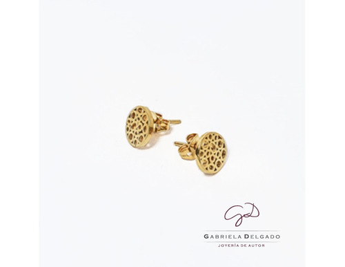 arete plata 925 con chapa de oro gabriela delgado joyería
