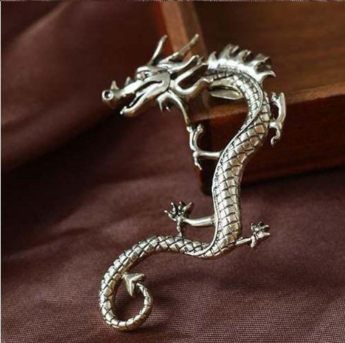 arete solitario de dragon earcuff pendiente de dragon acero