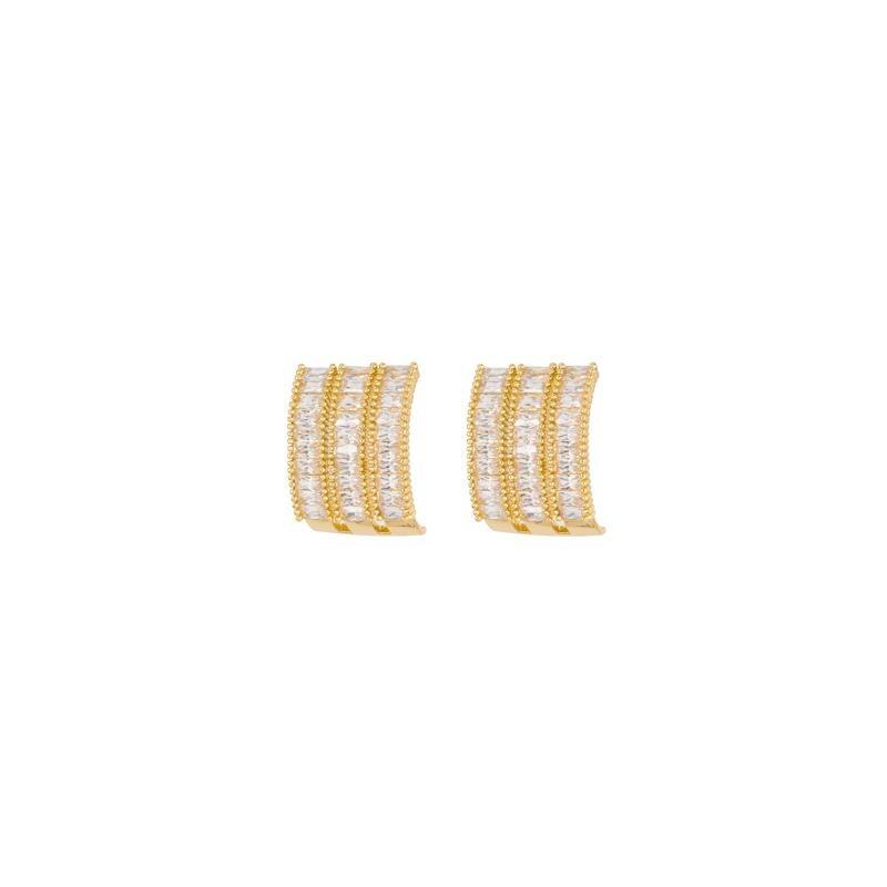 5dbd3e2a1967 arete tres lineas zirconia cuadrada separadas lam oro 24k. Cargando zoom.