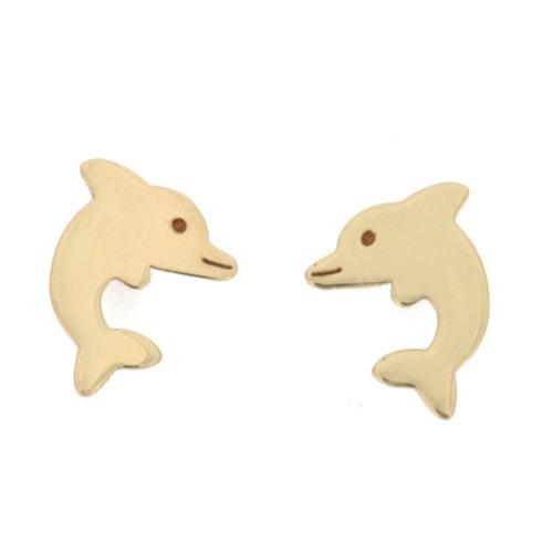 aretes 14k oro estilo delfin liso