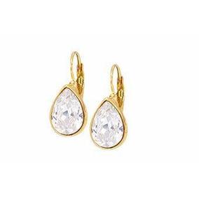 24e51885729e Aretes De Chapa Oro Blanco 14k Y Cristal Swarovski Azul!! - Joyería ...