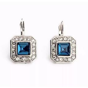 f399ee326419 Aretes Cristal Austriaco Cuadro Azul Envío Gratis