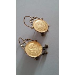59c4d697c16e Aretes Oro Puro Con Moneda  2.5 Pesos 22k 5.4 G