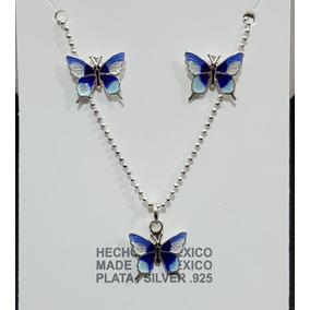 05b34fdae40b Juego De Aretes Y Dije Mariposas Plata Bim en Mercado Libre México