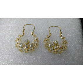 a3f7bf56afe1 Aretes Medianos Oro Puro Perlas - Aretes en Mercado Libre México