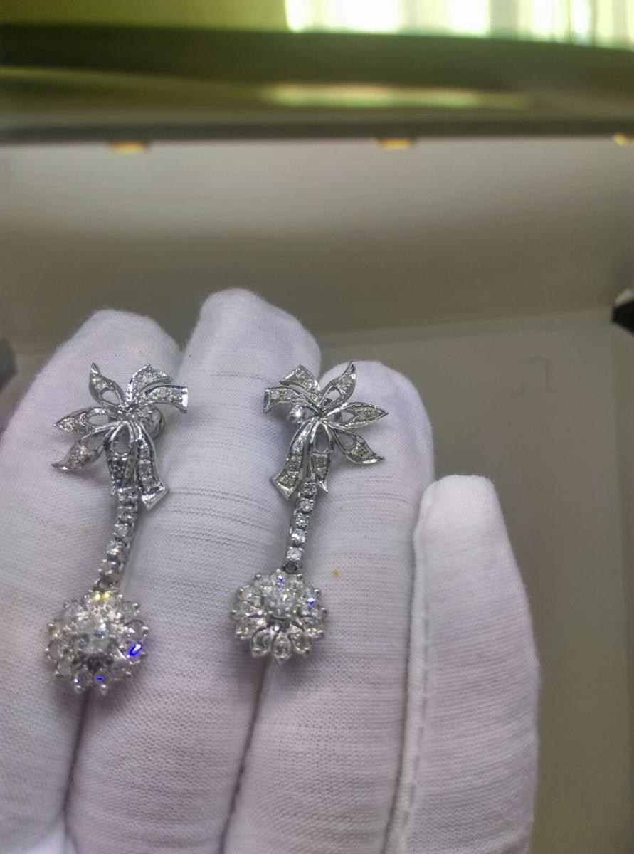 0495af4f52d1 Aretes Antiguos De Paladio Con Diamantes Naturales -   11