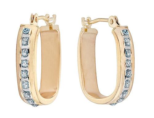aretes argolla cuadrados c/diamante en oro yellow 14k, 2/3in