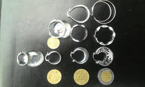 aretes, aros,  caravanas en plata 925 con sello a la vista
