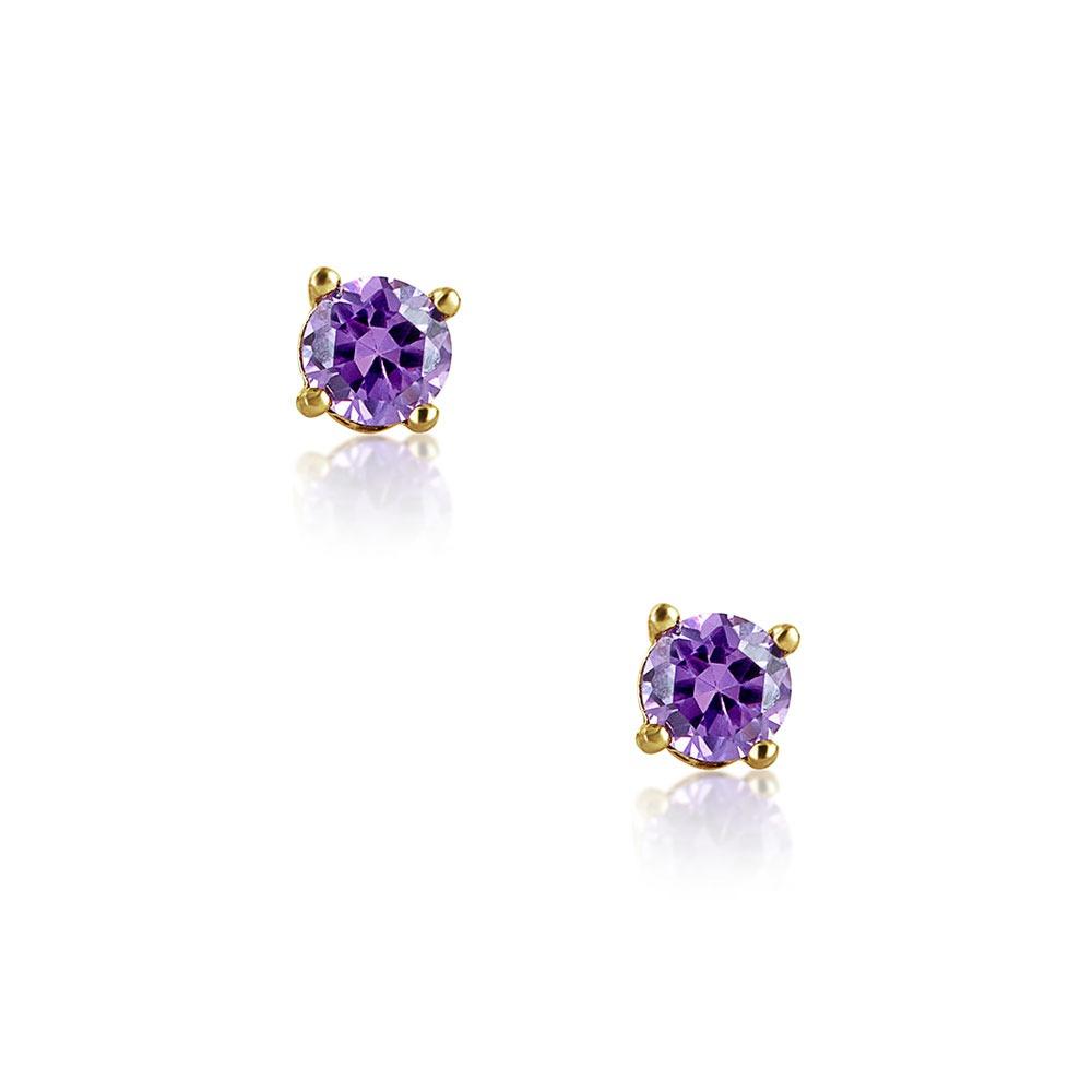 f8f511528dc7 Aretes Bling Jewelry Con Amatista Circonio Y Oro 14k 3mm ...