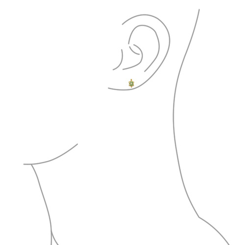 aretes bling jewelry con emerald circonio y  tortuga 14k oro