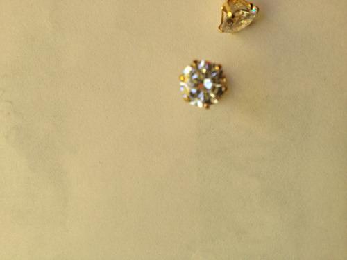 aretes broquel circonia 7 mm diametro chapa d/oro 22 kilates