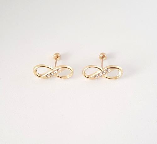 aretes broquel de infinito para mujer oro sólido 10k
