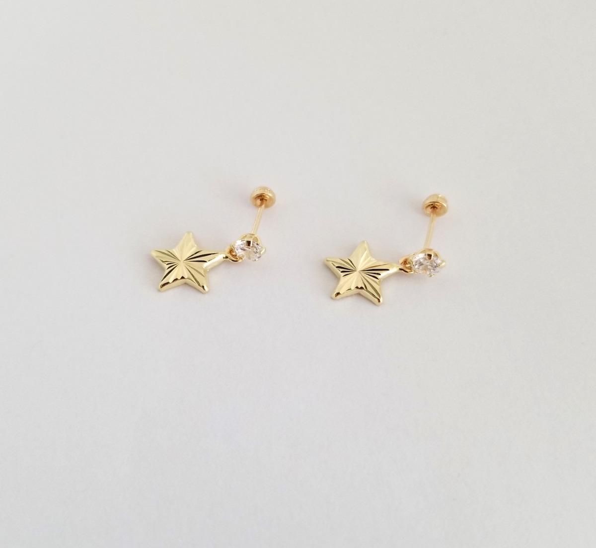 9049d13d9f46 aretes broquel estrella colgante para mujer oro sólido 10k. Cargando zoom.