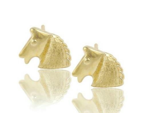 aretes caballo oro laminado 14k