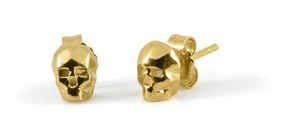 563eae07bfe7 Aretes Calavera Skull En Plata Con Acabado En Oro