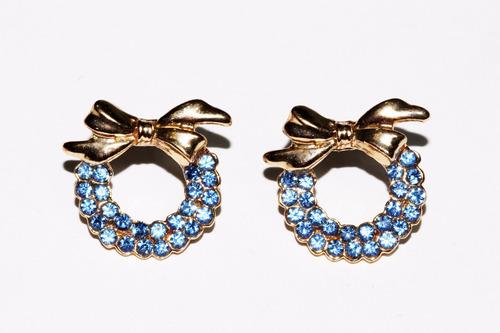 aretes casuales dama dorado moño cristales moño azules ar773