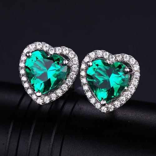 aretes con esmeralda en plata ley 925 - joyas
