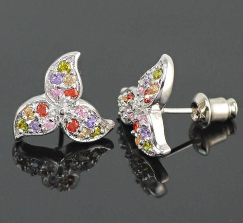 aretes con gemas variadas en sf plata ley .925 envío gratis