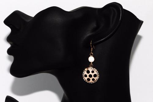 aretes dama dorado circular cristales lunares negros ar784