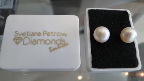aretes de broquel de perla natural blanca envio gratis!