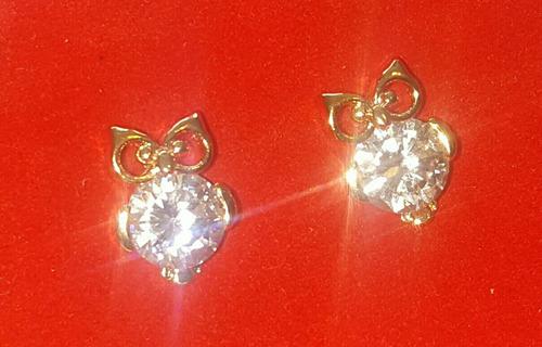 aretes de buho en oro 18k lam con zirconia/diamante.