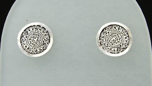 aretes de calendario azteca mini de plata ley 0.925