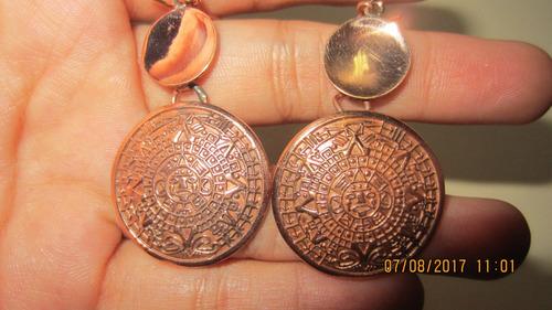 aretes de cobre calendario azteca con circulo c0001