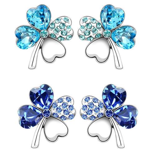 aretes de cristal swarovsky  hearth flower joya de lujo