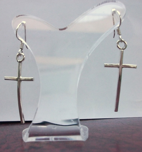 aretes de cruz larga esbelta en plata sterling .925 solida