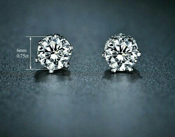 nueva estilos feaba 7ddf6 Aretes De Diamante 7.5 Cz De Pureza Oro Blanco Lam. 18k