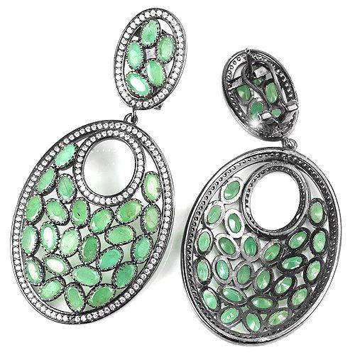 aretes de esmeraldas naturales con plata 925 y rodio negro