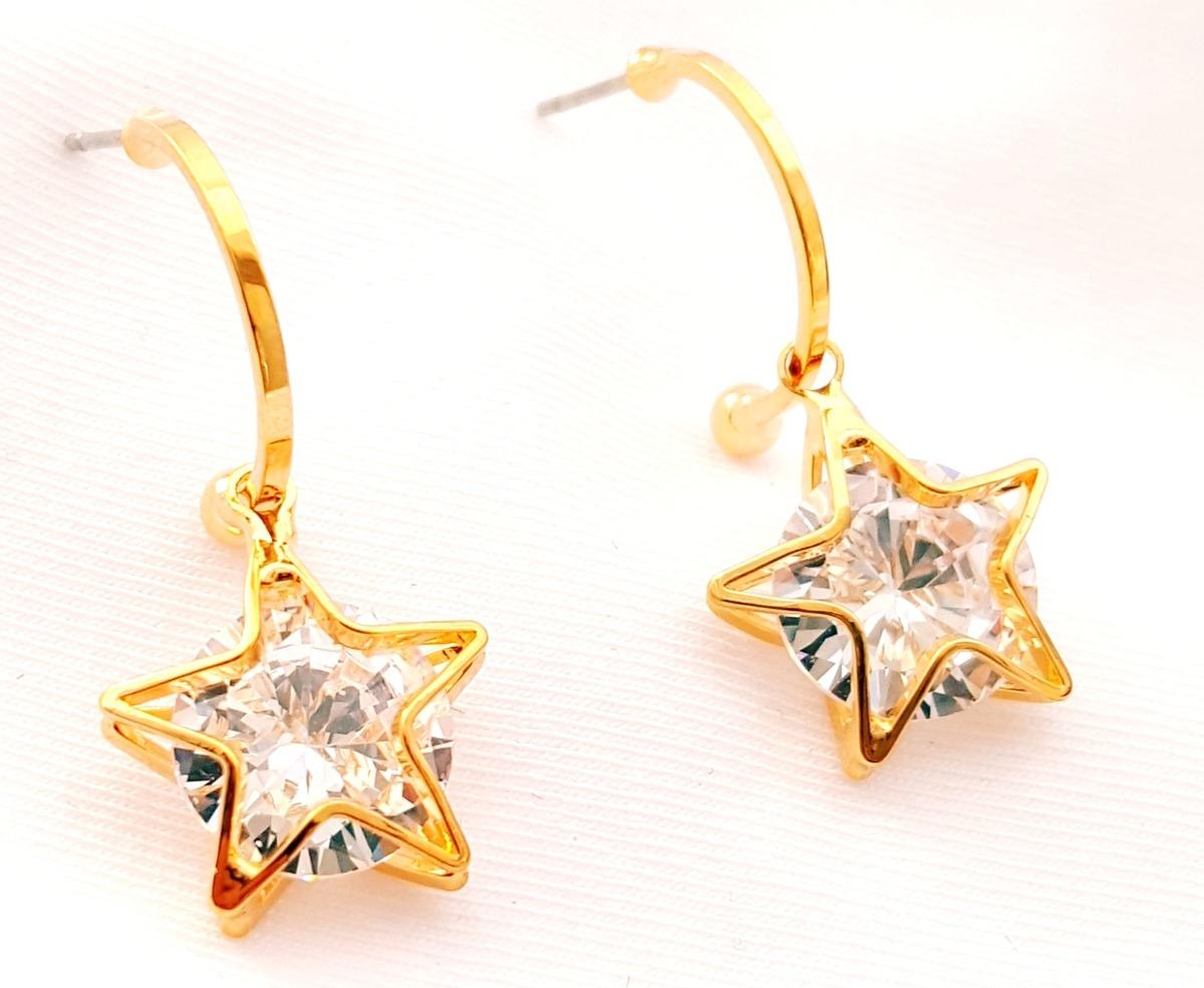 33c5550beb02 aretes de estrella zirconia calidad diamante y oro laminado. Cargando zoom.