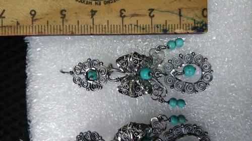 aretes de filigrana de plata oxidada jardines con turquesa