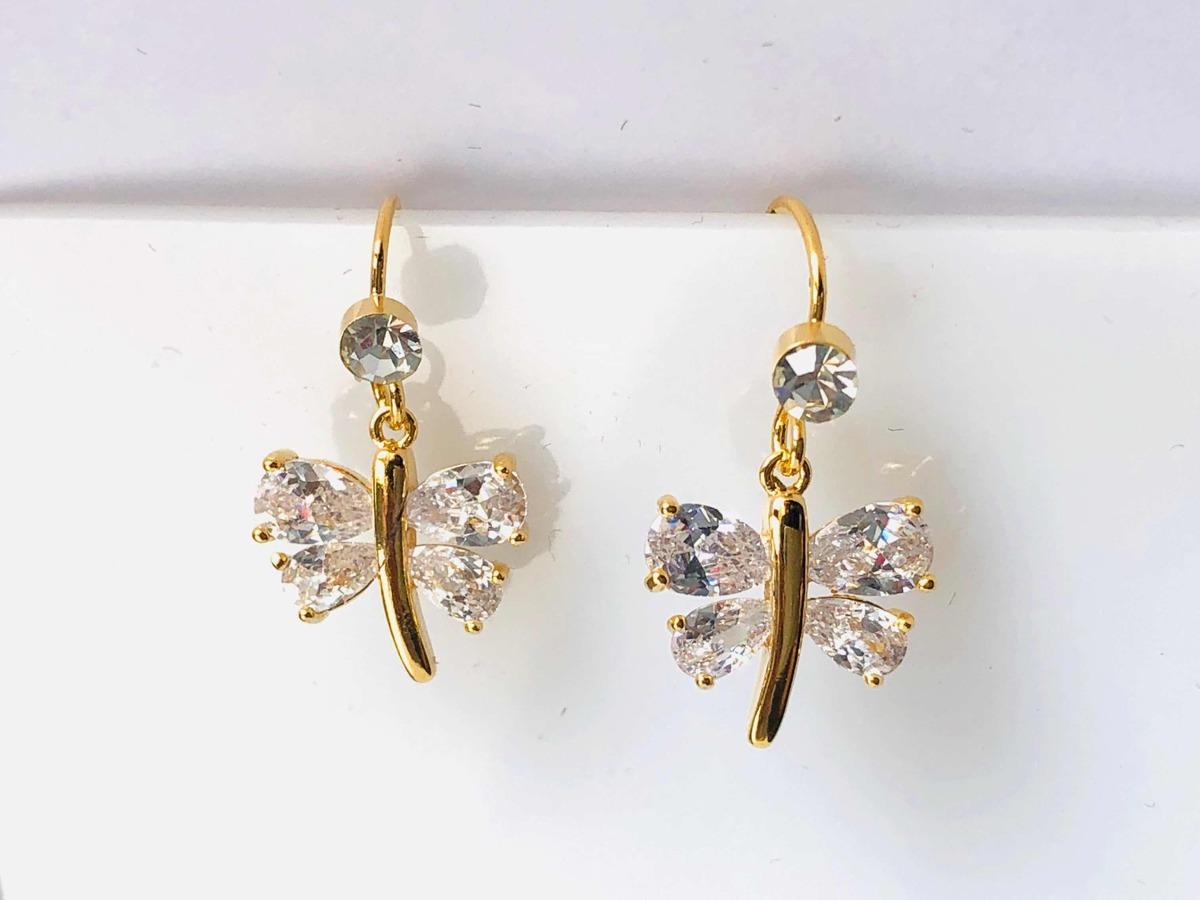 d8d72a12c33c aretes de libélula oro laminado y zirconias calidad diamante. Cargando zoom.