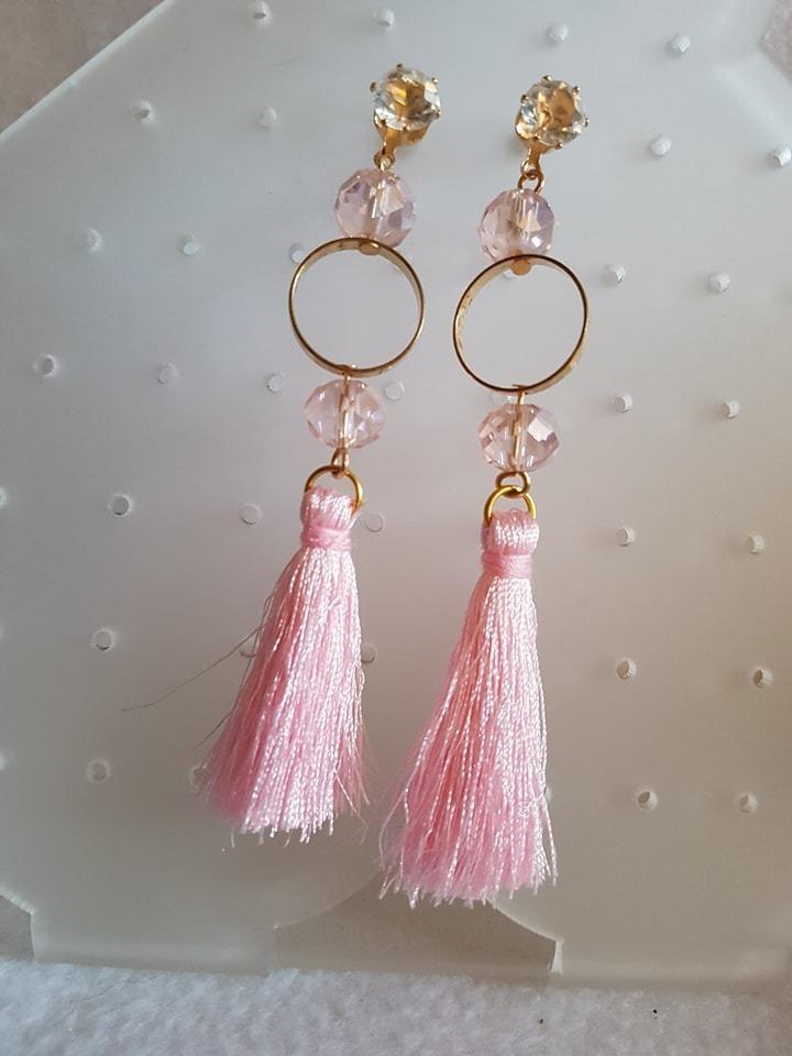 1175570ca18a aretes de moda borlas hilos tassles con pedrería rosado. Cargando zoom.