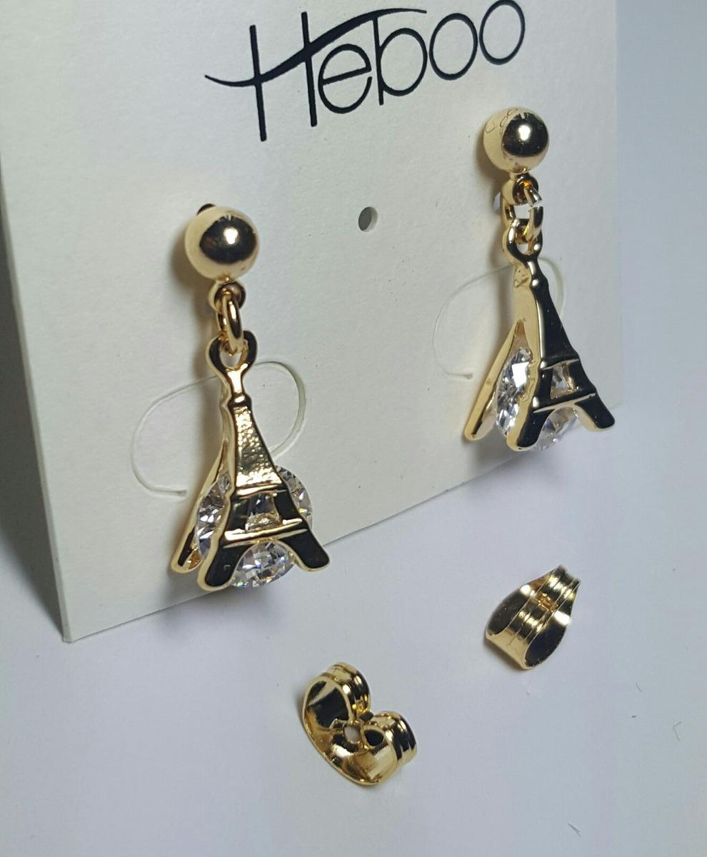 6b7010c43853 Aretes De Oro 18k Lam Y Zirconia-diamante De La Torre Eiffel ...