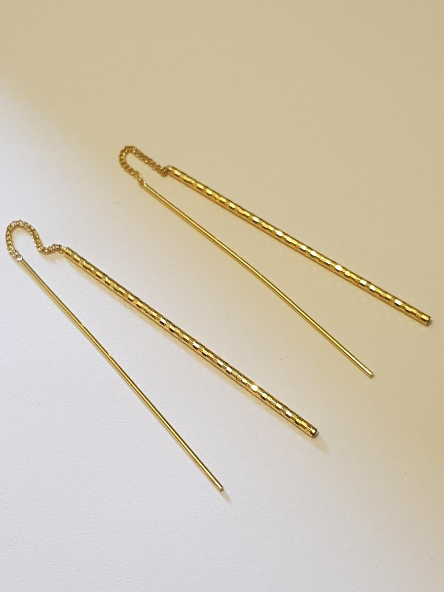 dc6e7b2942a3 aretes de oro lam. de 6 cm de largo tipo violadores rectos. Cargando zoom.