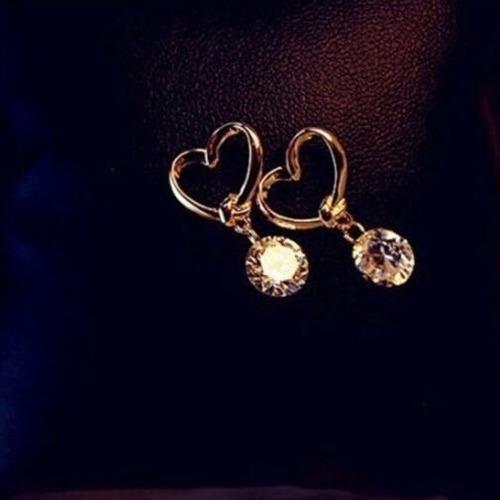 aretes de oro laminado 18kgp regalo amor corazón novia moda