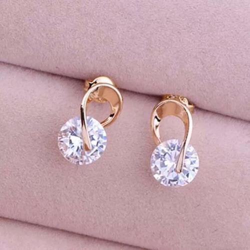 aretes de oro laminado 18kgp zirconia regalo joyería moda