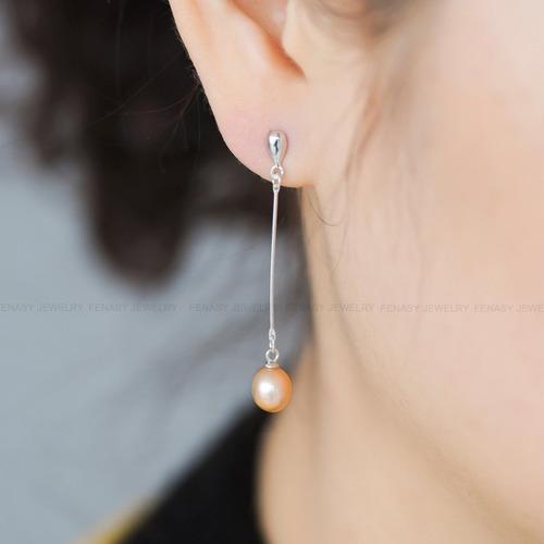 aretes de plata 925 con perlas producidas en rios