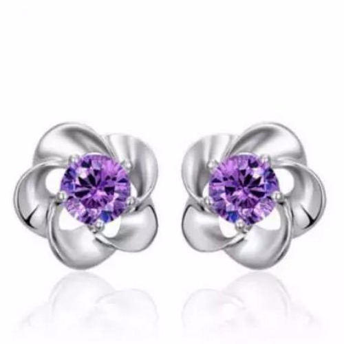aretes de plata .925 joyería zirconia púrpura mujer flor