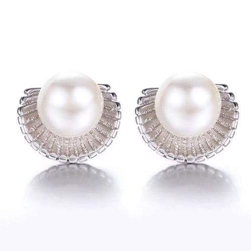 aretes de plata .925 perla de mallorca concha joyería mujer