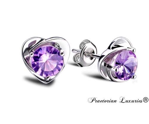 aretes de plata .925 swarovski corazón zirconia púrpura dama