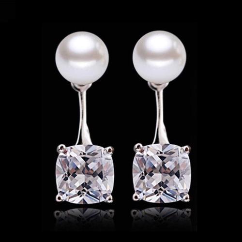 aretes de plata .925 zirconia perla de mallorca joyeria dama