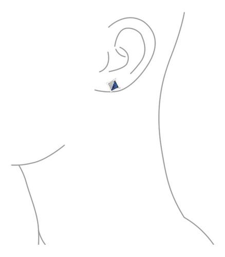 aretes de plata cuadrados con circonia p/hombre, azul/blanco